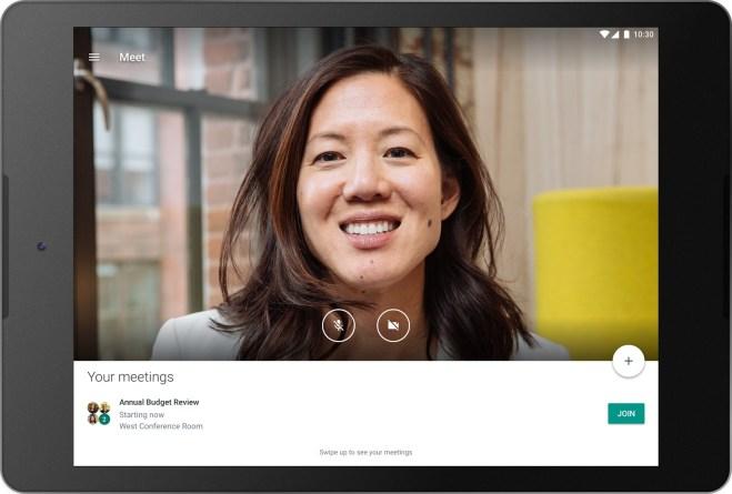 خدمة Hangouts Meet لإجراء مُكالمات الفيديو من قوقل تدعم الحواسب اللوحية