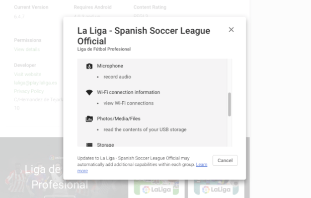 الاتحاد الاسباني لكرة القدم يتجسس على متابعي الدوري من خلال التطبيق الرسمي