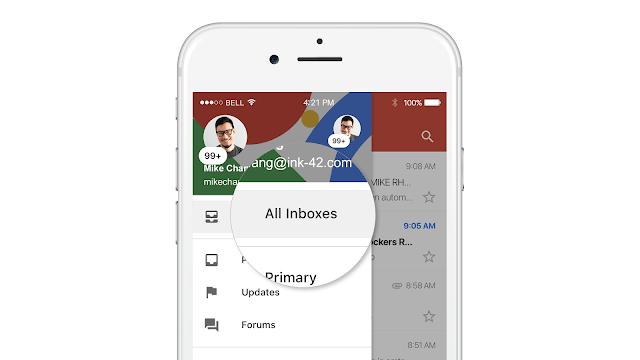 تطبيق Gmail على iOS يتيح استعراض جميع رسائل الحسابات في مكان واحد