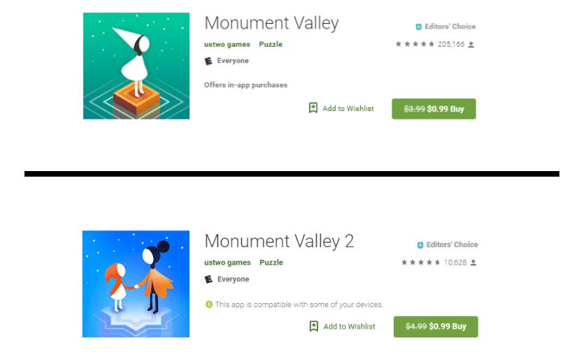 إصداراي لعبة الألغازMonument Valley متاحان الآن بسعر 0.99 على قوقل بلاي