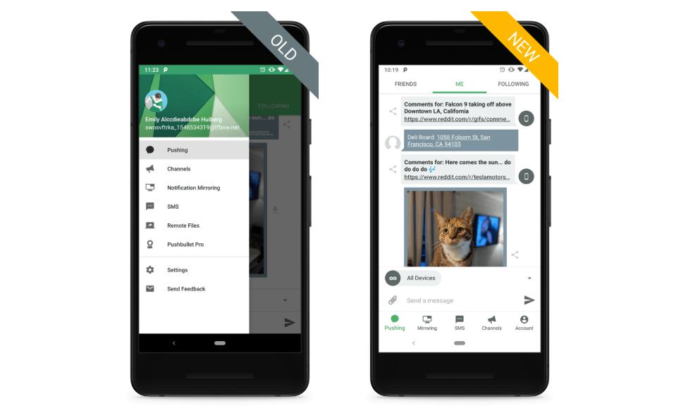 تحديث تطبيقPushbullet يأتي بتصميم جديد مع دعم الوضع المظلم وأكثر