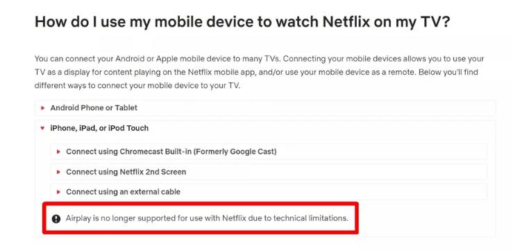نتفليكس توقف دعمها لخدمة آبل AirPlay