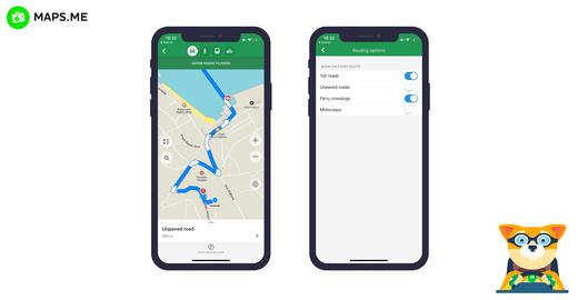 تطبيق MAPS.ME يُظهر الآن أنواع الشوارع والالتفافات الخاصة بها
