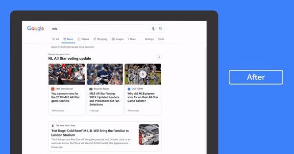 قوقل تحدث تصميم قسم الأخبار في محرك البحث
