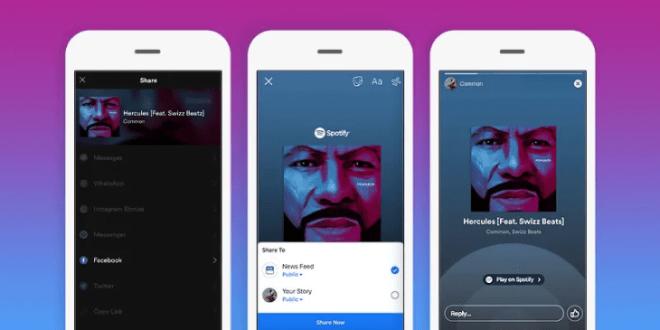 تحصل قصص فيس بوك على خيار مشاركة الموسيقى من سبوتيفاي