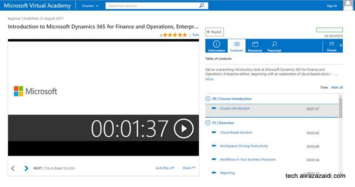 MVA 上 D365 FFO企业版免费视频课程 / Free introductory course on MVA for Dynamics 365 for finance and operations, enterprise edition.