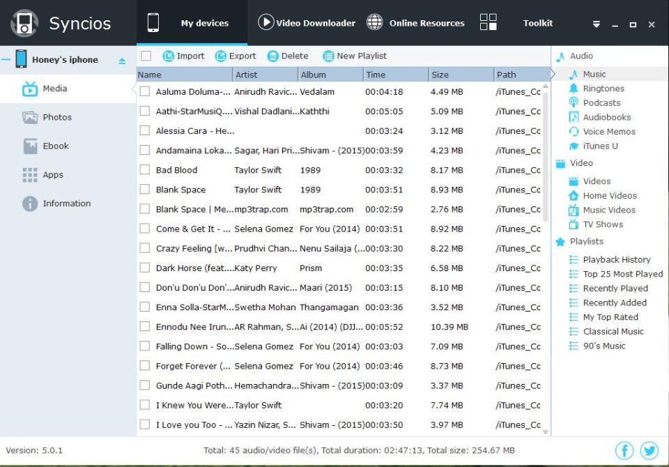 syncios import,export or delete