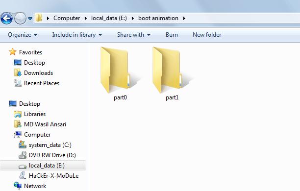 create boot animation-folders