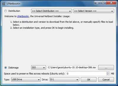 Create bootable Pendrive with UNetbootin