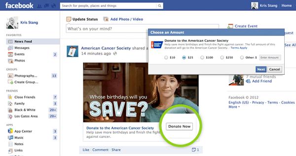 Facebook Doneer Nu button
