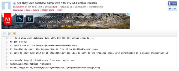 eBay cyberaanval datadump-pastebin