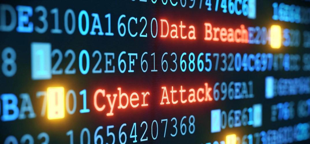 Afbeelding met de woorden data breach en cyber attack