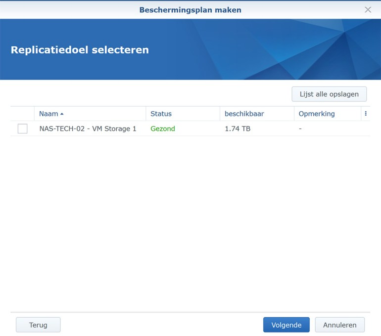 Synology VMM Snapshot replication BeschermPlan06