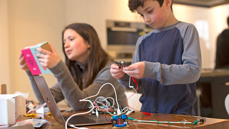 Micro:bit being used by a young child