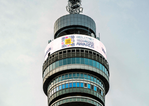 BT Tower with the Tech4Good 10th Anniversary Logo showing on the Digital Infoband