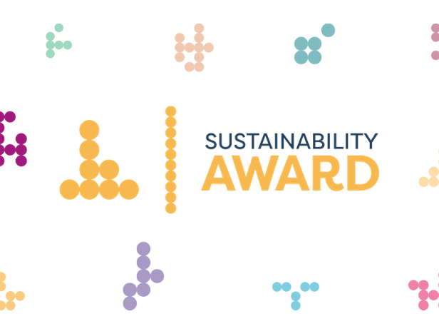 Sustainability Award logo on a dotty background