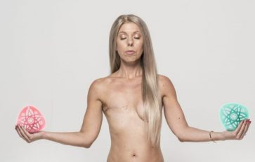Naked woman sitting in a yoga pose with right breast showing scar from mastectomy