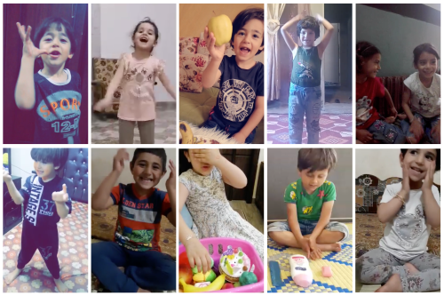 A collage of photos of young children performing