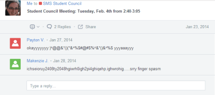 Post Example of Edmodo