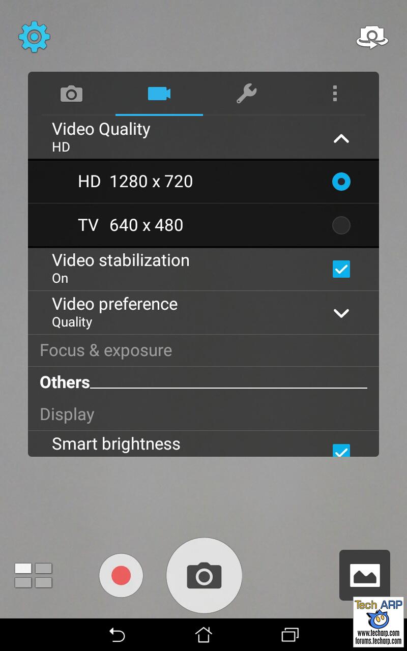ASUS ZenPad 7.0 (Z370CG) camera options