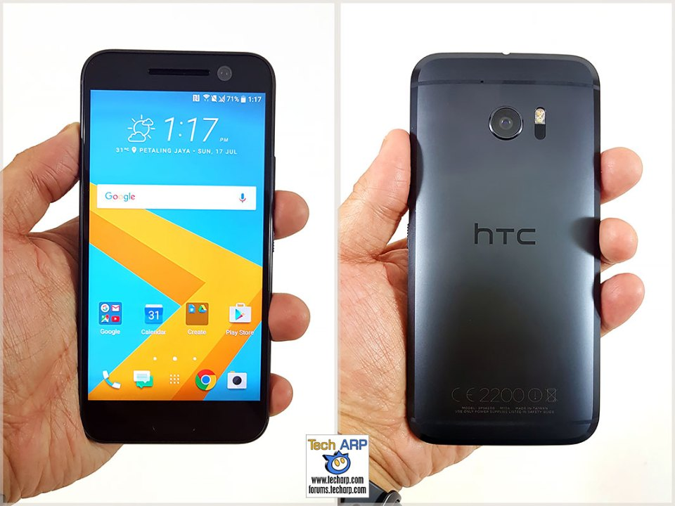 HTC 10 smartphone in hand