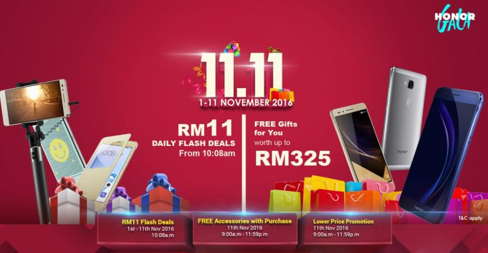 We are excited to introduce Honor Malaysia's Honor Gala Sale 2016, a promotion period running for 11 days, starting from November 1st to November 11th.
