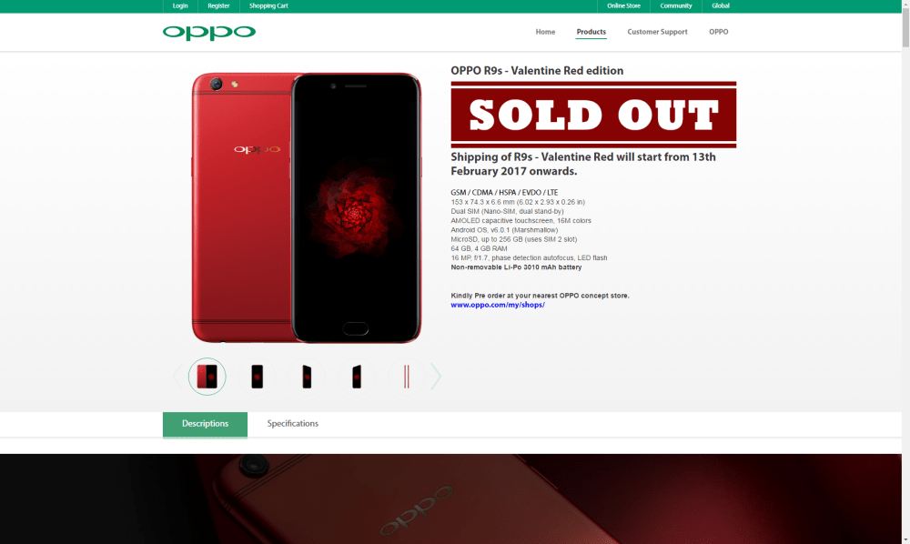 The OPPO R9s Valentine Red Edition Is Still Available!