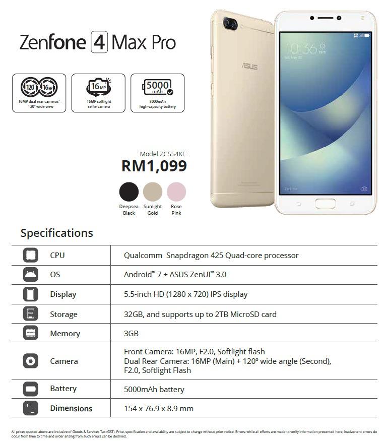 ASUS ZenFone 4 Max Pro Malaysia price