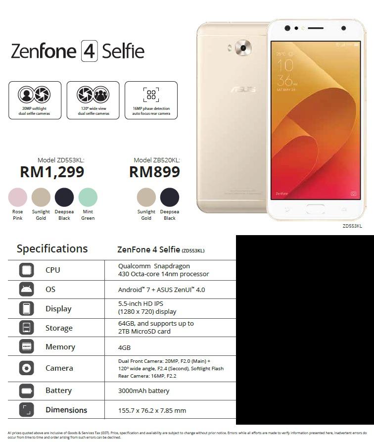 ASUS ZenFone 4 Selfie Malaysia price