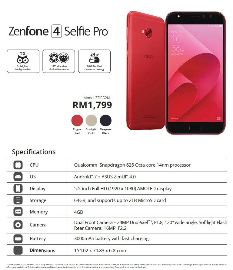 ASUS ZenFone 4 Selfie Pro Malaysia price