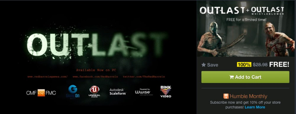 Outlast Deluxe Edition Is FREE For A Limited Time!