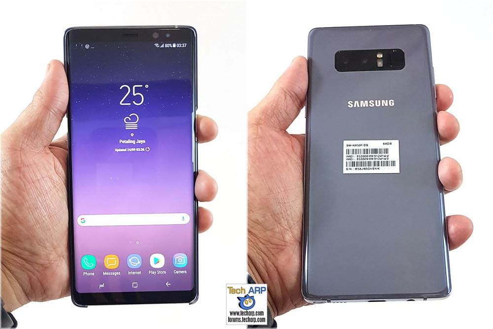 Samsung Galaxy Note8 in hand