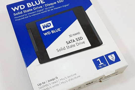 The 1TB WD Blue 3D SSD box