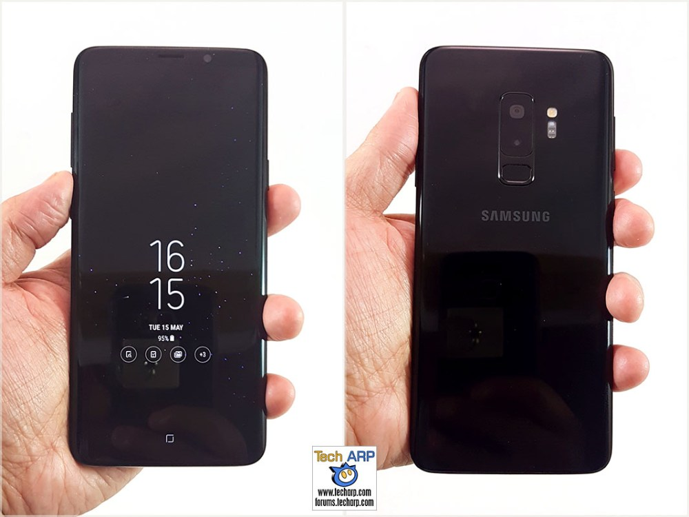 Samsung Galaxy S9 Plus in hand