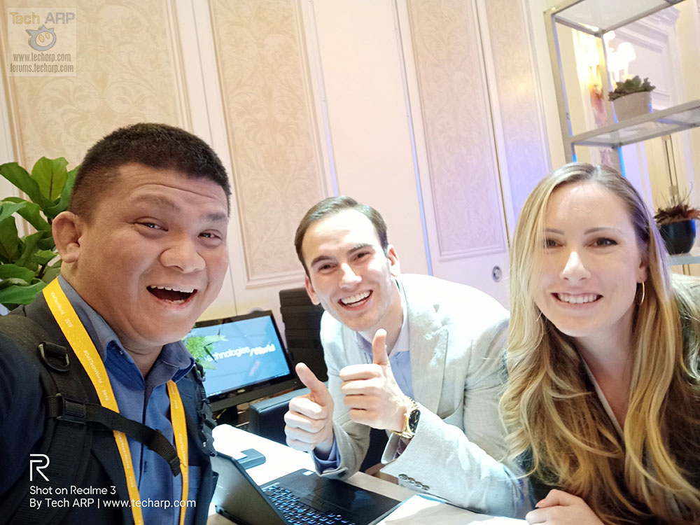 Realme 3 Las Vegas selfie with Ben Driscoll and Kendall Peters