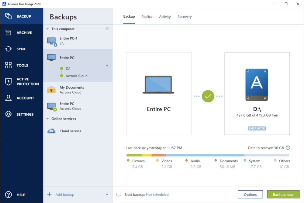 Acronis True Image 2020 screenshot