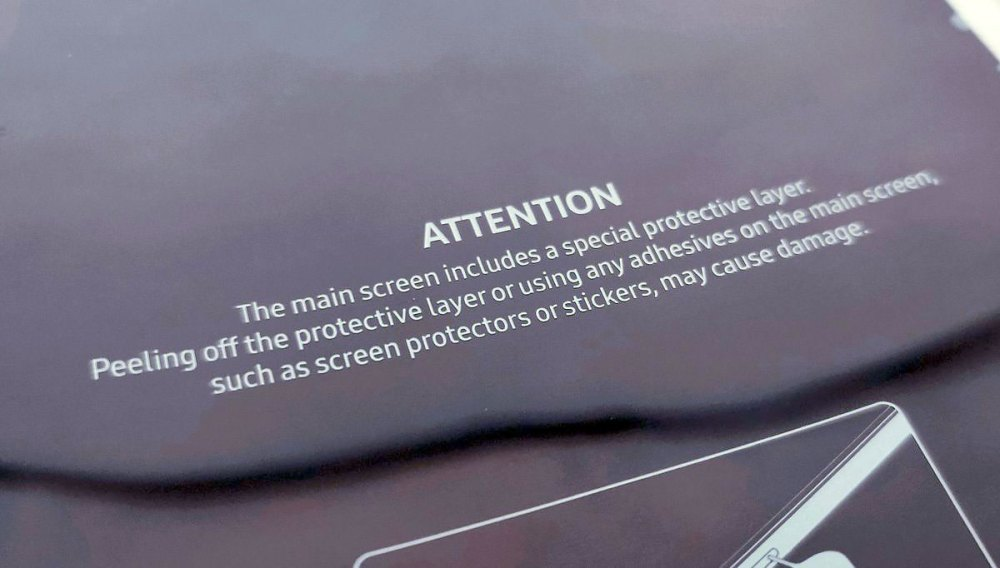 Samsung Galaxy Fold display warning