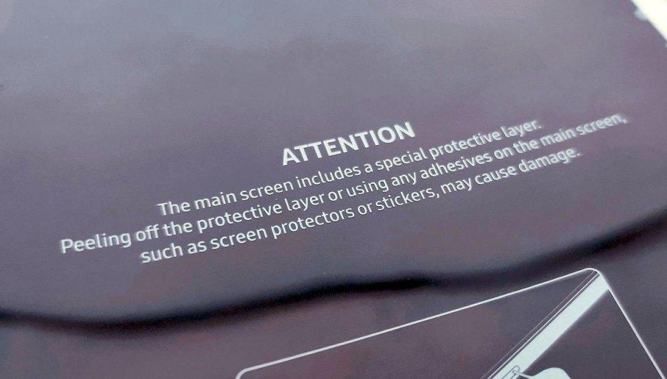 Samsung Galaxy Fold display warning
