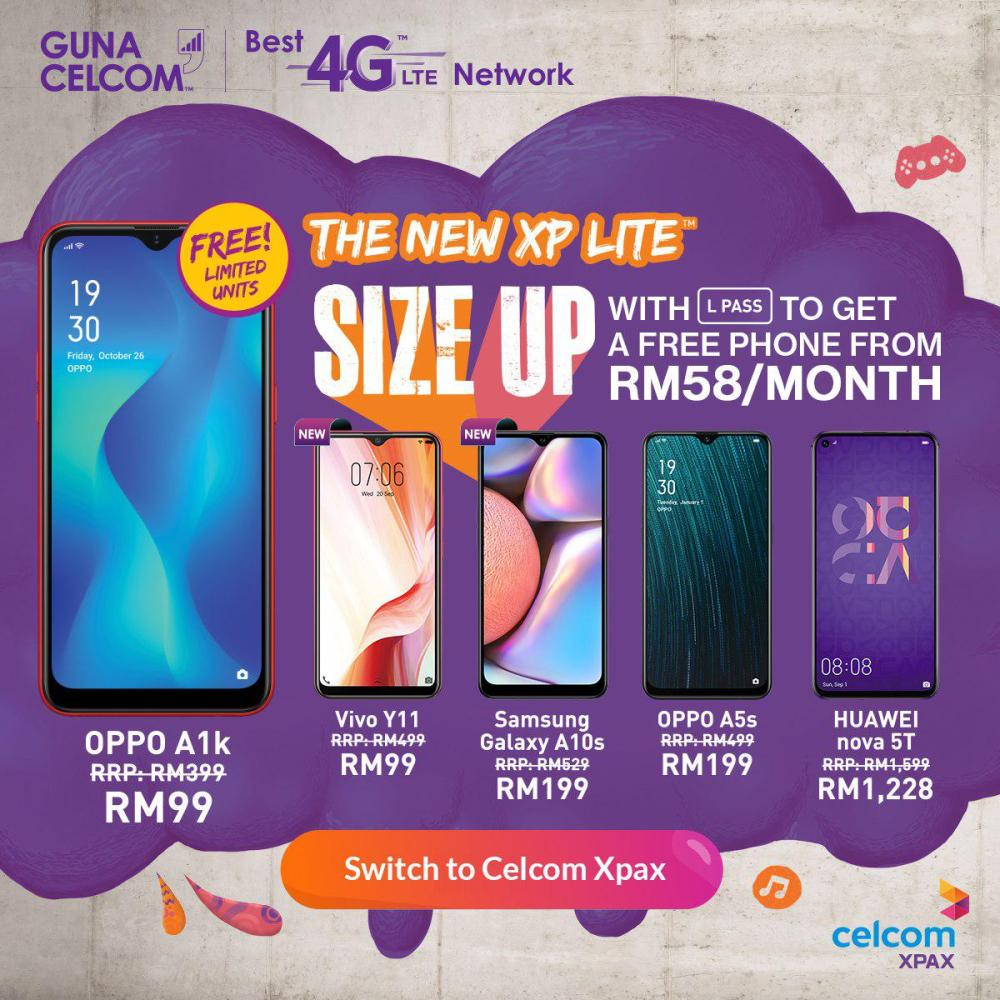 Celcom XP Lite postpaid plan free or discounted phones