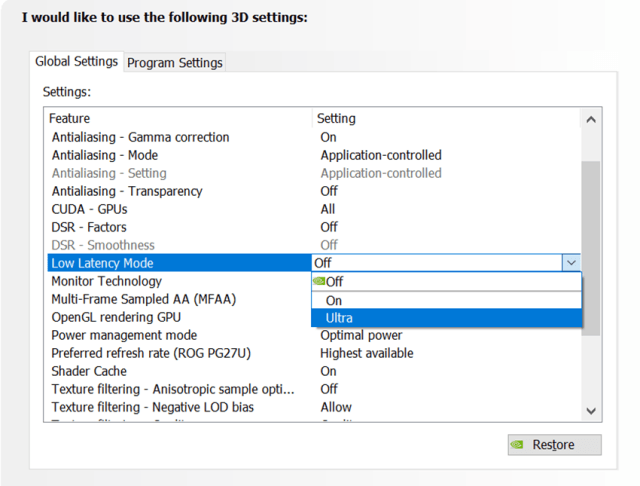 NVIDIA Control Panel NULL enable