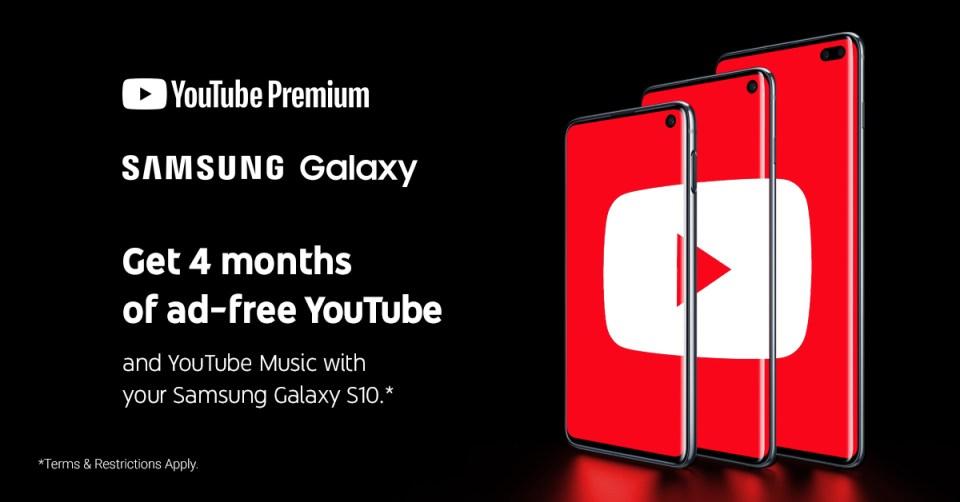 Samsung Galaxy S10 YouTube Premium