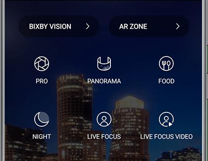 Samsung Galaxy S20 Bright Night Mode selection