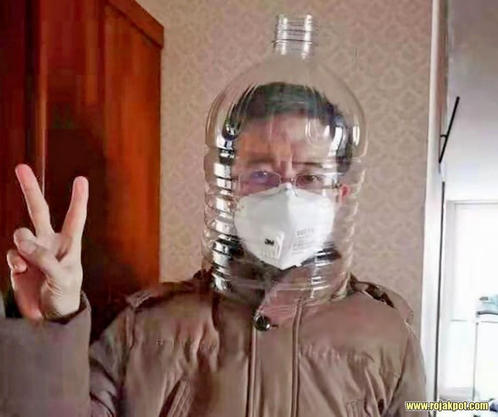 Water bottle face shield