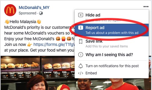 Report fake McDonald's Malaysia advertisement