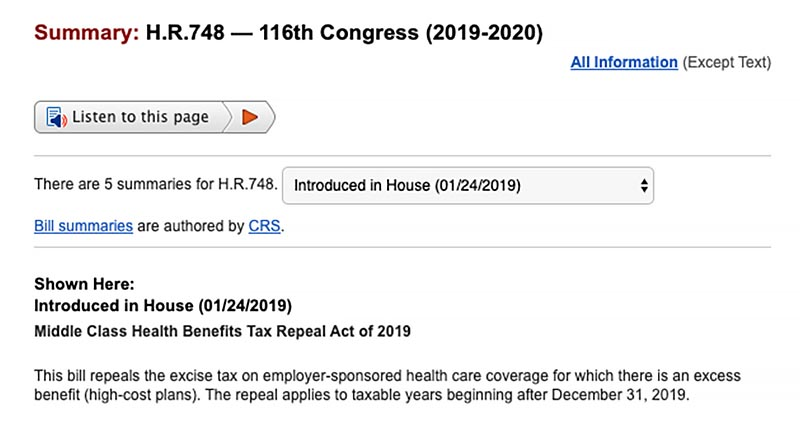 CARES Act HR 748 24 January 2019 introduction