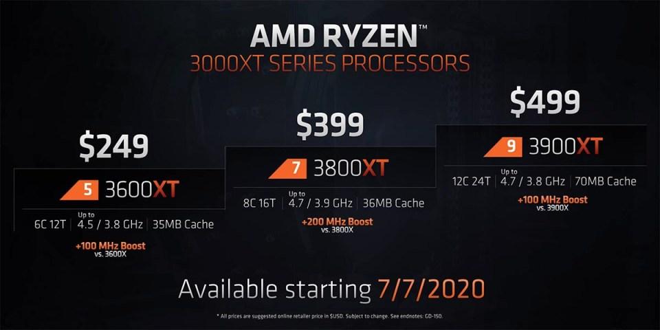 AMD Ryzen 3000 XT price list
