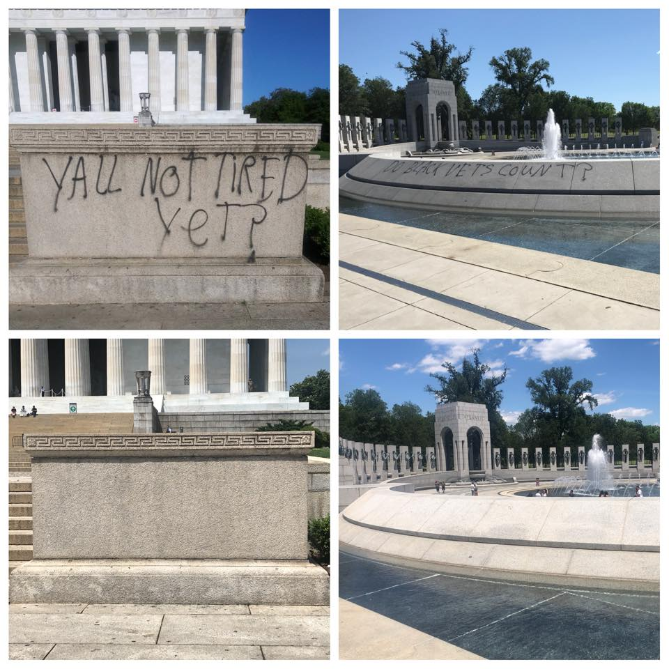 National Parks clean-up of Lincoln Memorial and World War II Memorial