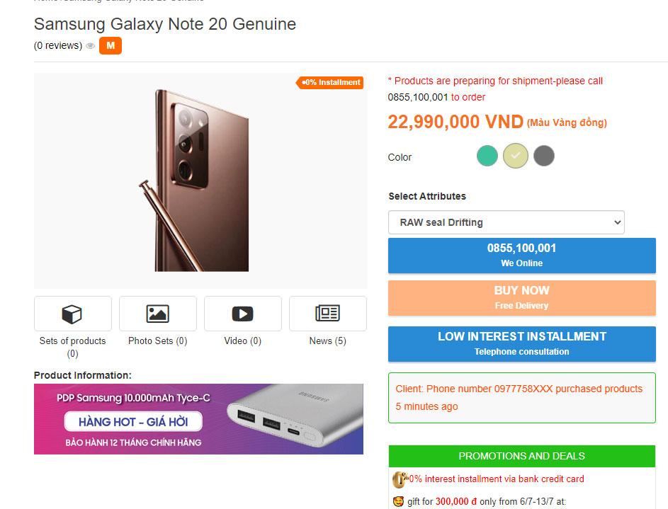 Samsung Galaxy Note20 Vietnam Price Leak