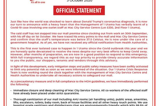 1 Utama COVID-19 statement 01