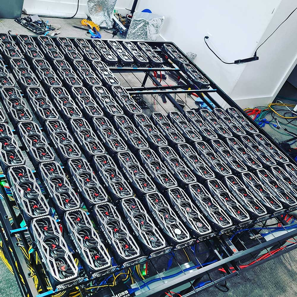 Crypto-Mining Rig With 78 GeForce RTX 3080 Cards!